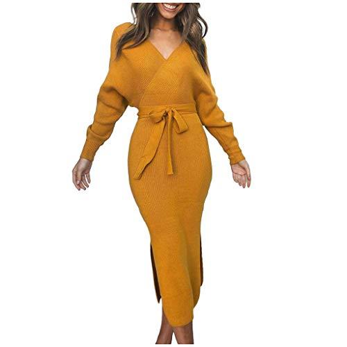 HDUFGJ Damen lang Casual Herbst winterkleid Sexy V-Ausschnitt T-Shirt Lange Ärmel Kleid mit Gürtel Pullover Stickerei Tasche Sweatshirt Kapuzenpulli Top Plüsch HoodiesL(Gelb)