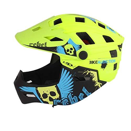 3M Kinderfahrradhelm Motorrad Full Face Helm Kinderschutz Ausrüstung Sport Schutzgeräte Fahren Skating,Green,M