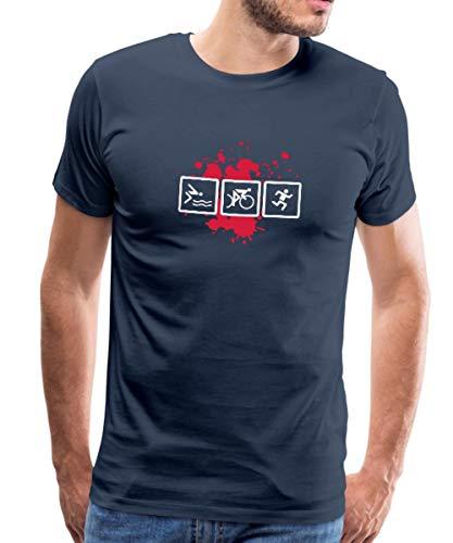 Spreadshirt Triathlon Piktogramme Schwimmen Radfahren Laufen Männer Premium T-Shirt, M, Navy