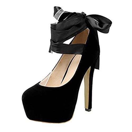 YE Damen High Heels Stiletto Plateau Geschlossen Pumps mit Schnürung Party Modern Schuhe