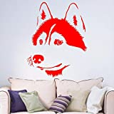 yaoxingfu Husky Dog Siberian Living Room Hallway Portrait Window Decal Sticker Home Decal Vinilo extraíble Wall Art Decal Sticker WW-2 42cm X 53cm