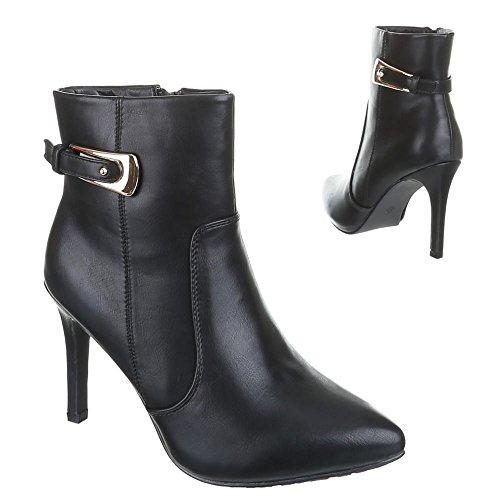 Ital-Design, cd5858, bottines pour femme talons hauts Noir - Noir