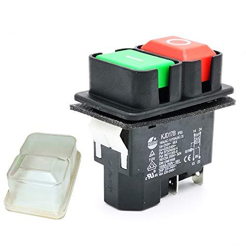Wasserdicht Magnetisch Sicherheit Druckknopfschalter für Bank Säge Bohren Drehmaschinen, KJD17B 220V 4 Pins 2HP