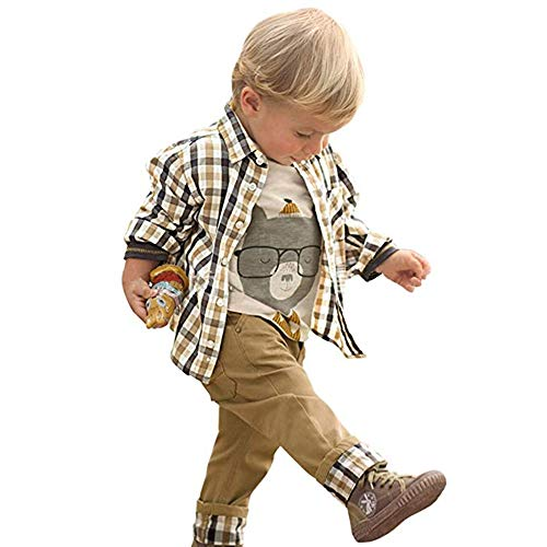 CATAWE Baby Kariertes Hemd Bekleidungssets Hemden Jacken, 100% Baumwolle Mantel +Langarmshirt Tops & Shirts+Khaki Jungen Boy Hosen- Label 110 / 4-5 Alter, Khaki - Alter Mantel