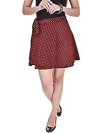 Pezzava Women's Cotton Printed Wrap Around Mini Skirt (Red, Free Size)