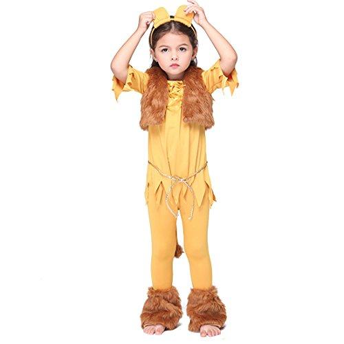 YYF Kinder Löwe Kostüm für Mädchen Halloween Cosplay Partei Abendkleid mit (Kostüme Kinder Löwe)