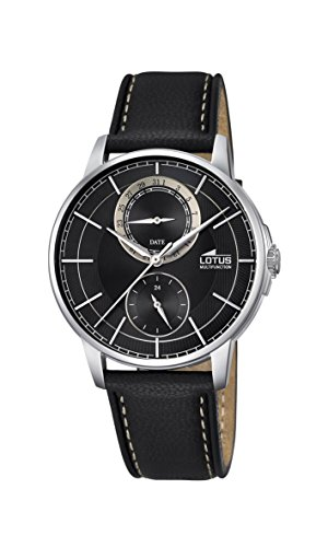 Lotus Men's Quartz Watch with Black Dial Analogue Display and Black Leather Strap 18323/3