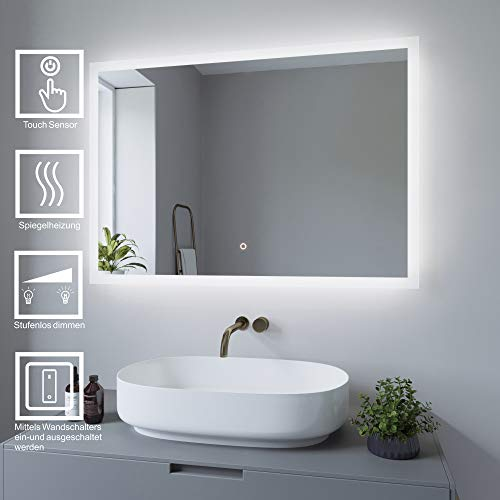 AQUABATOS 100x70 cm Badspiegel mit Beleuchtung badezimmerspiegel Lichtspiegel LED Wandspiegel, Touch-Schalter Dimmbar + Kaltweiß 6400K + Spiegelheizung + Anti-beschlag + IP44 + CE