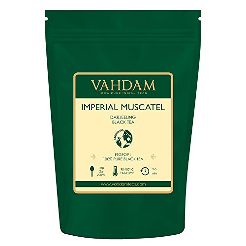 VAHDAM, Imperial Darjeeling Tea Loose Leaf, (50 Cups) 100g | Limited Edition Muscatel Flavour - High Grown in Select Organic Tea Estates, 100% Certified Pure Unblended Black Tea, SFTGFOP1 Grade