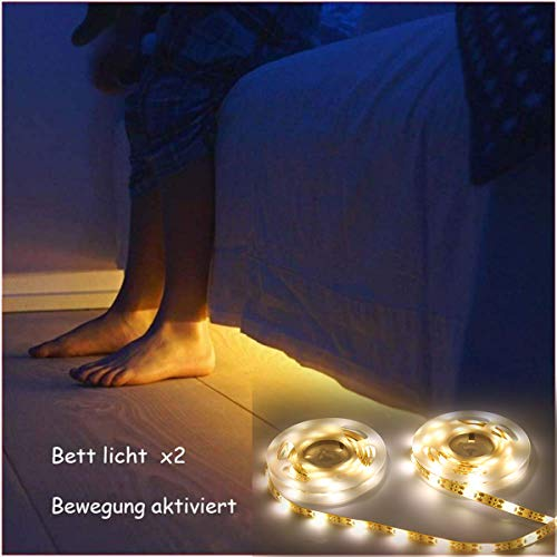 Jindia Dimmbar Bewegung aktiviert Bett Licht, Flexible LED Streifenlicht, Auto Ein/Aus Bewegungsmelder Nachttischlampe, Bewegung aktivierte LED-Lichtleiste (zwei Sensoren)