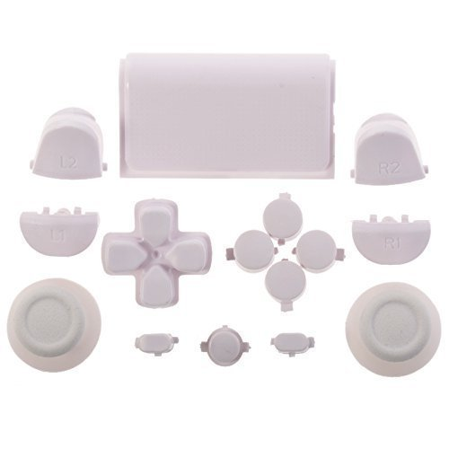 E-WOR White Full Playstation 4 Button Mod Kit Buttons Set Trigger Dpad Thumbsticks For PS4 Playstation 4 Controller