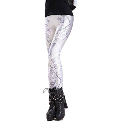 Rubberfashion Leggings Geometrie, glänzende Leggin mit geometrischem Motiv bis zur Hüfte für Frauen und Mädchen Menge: 1 Stück Silber S/M