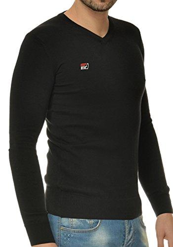 M.Conte Herren Sommer Pulli Pullover Cardigan Modell Vanon in 8 Farben Schwarz