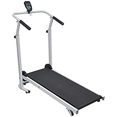 vidaXL Folding Manual Treadmill Running Machine Cardio Fitness Exercise Incline Black from vidaXL