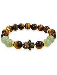 Bling Jewelry Chapado en oro de la mano de Hamsa Ojo de tigre Jade Estirar Beads Bracelet