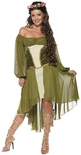 Smiffys Holde Maid Kostüm Grün mit Kleid und Haarblumenkranz, ()