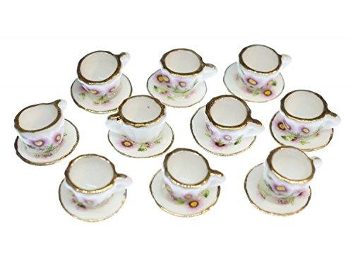 Miniblings 10x Tasse Puppenhaus Puppenstube Becher Porzellan Blume Tee Kaffee Goldrand