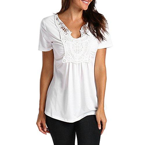 NPRADLA Damen Basic V-Ausschnitt Kurzarm T-Shirt mit Knöpfen Stretch Falten Süße Herz Print Tunika Allover Anker Druck Sommer Oberteile -