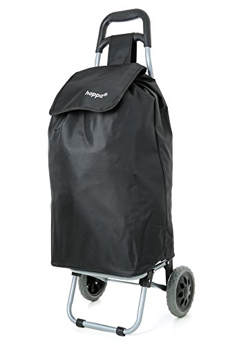 Hoppa Lightweight Shopping Trolley Folding 2 Wheel Large Capacity Shopper (Black 140)