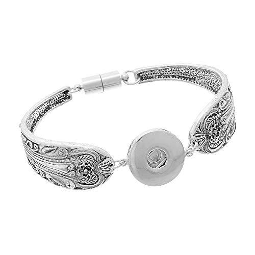 RainBabe Magnet-Armreif, antikes Silber, für 5,5 mm Druckknopf, 18 cm