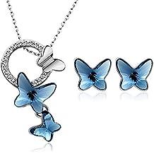 T400 Collier et Boucle d oreille Pendentif Coeur Papillon Cristal de  Swarovski Parure Bijoux Ensembles 7933b671191f
