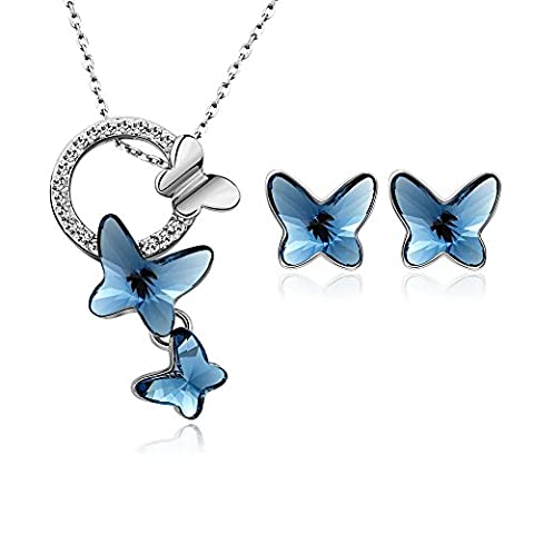 Ensembles bijoux pour bijoux pour femmes Fabriqués avec des cristaux Swarovski, collier et boucles d'oreilles Cadeau Love, bleu marine, 42 +