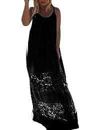 Damen Sommerkleider Maxikleider Elegant Festlich Mädchen Mit Spitze  Rückenfrei Mit Ärmel V Neck Kleid Perspektive Für Mollige… 64a496ae1c