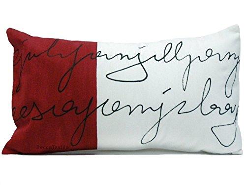 Dekorative Kissen, Brief, Kastanienbraun zierkissen, 30 x 50 cm, BeccaTextile, Designer-Stoff, Burgund Weißen Kissen.