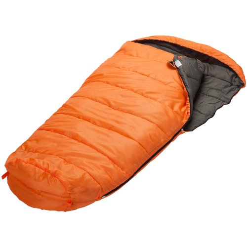 Skandika Vegas Mummy Sleeping Bag with Right Zip, Warm 300 gsm, Filling and Breathable for Camping, Hiking and Trekking, Orange/Grey, 220 x 110 cm/XL X-Wide