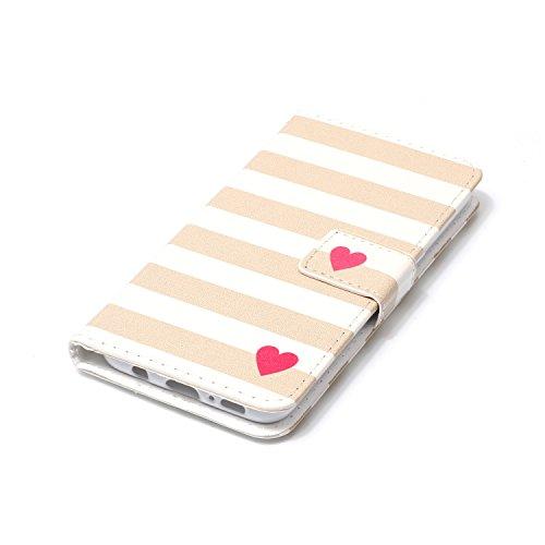 FESELE Lederhülle für [Samsung Galaxy S8] Leder Flip Case, Lanyard Strap Flip Brieftasche Ledertasche im Bookstyle Handyhülle mit Standfunktion Kartenfach Bunt Leder Butterfly Case Muster Silikon Rück Rot Liebe Herz Streifen