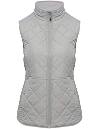 M&Co Ladies Light Grey Sleeveless Quilted Funnel Neck Zip Front Gilet Body Warmer