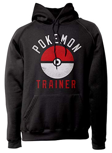 LaMAGLIERIA Unisex-Hoodie Pokemon Trainer - Kapuzenpullover, L, Schwarz