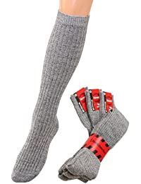 Kniestrümpfe wolle Herren Kniestrümpfe Wollsocken Skisocken warme Kniestrümpfe mit Plüschsohle grau, 3 Paar