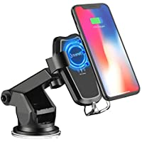 SONRU Cargador Coche Inalámbrico Qi, Qi Fast Cargador Inalámbrico y Soporte para Teléfono con Soporte Air Venture para iPhone X, Samsung Galaxy S8 / S8 +, S7 / S7 Edge, S6 Edge,y Qi Enable Devices