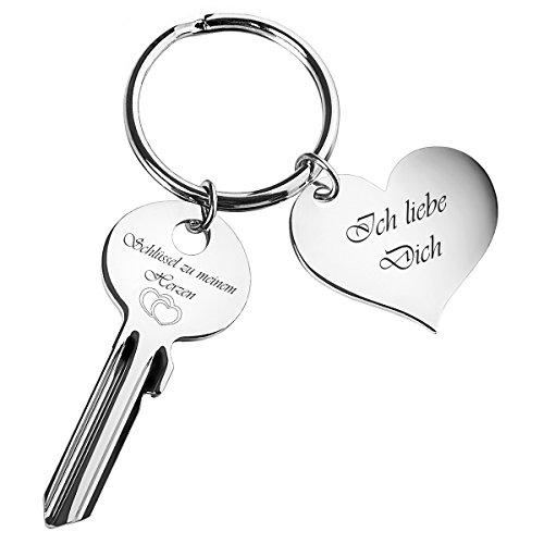 """Schlüssel zu meinem Herzen mit Herz-Anhänger """"Ich liebe Dich"""" - graviert - Silber - romantische Geschenke für Frauen, Freund, Freundin"""