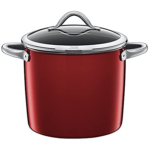 Silit Stock Pot Ø 24 cm Approx. 8.5L Vitaliano Rosso Pouring Rim Made in Germany Glass Lid Silargan® Functional Ceramic Suitable for Induction Hobs Dishwasher-Safe