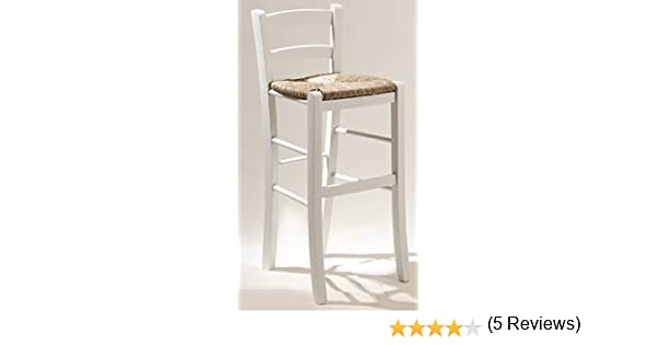 Okaffarefatto maddaloni sgabello sedia in legno bianco con seduta