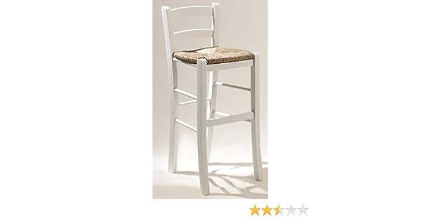 Okaffarefatto maddaloni sgabello sedia in legno bianco con seduta in
