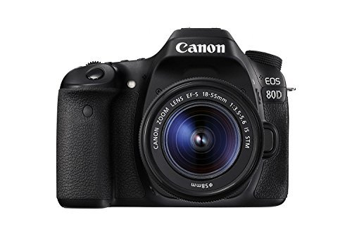 Canon EOS 80D Digital SLR Kit mit EF-S 18-55 mm f/3.5-5.6 Bildstabilisierung, STM Objektiv, Schwarz Digital Point And Shoot Film Camera