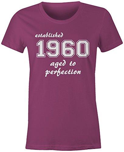 Established 1960 aged to perfection ★ Rundhals-T-Shirt Frauen-Damen ★ hochwertig bedruckt mit lustigem Spruch ★ Die perfekte Geschenk-Idee (07) pink