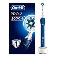 Oral-B Pro 2 2000N CrossAction Electric Rechargeable Toothbrush, 1 Handle, 2 Modes: Daily Clean and Sensitive, Gum Pressure Sensor, 1 Brush Head, 2 Pin UK Plug