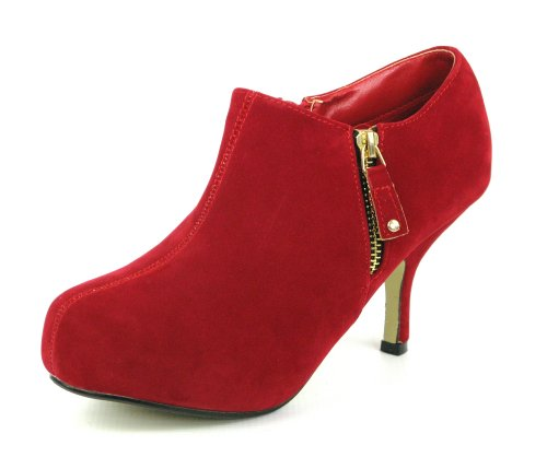 WOMENS BLACK NUDE RED PLATFORM BOOTIES MID KITTEN HEEL HIGH COURT SHOES...