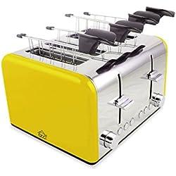 Tostapane elettrico TA8660 DCG in acciaio 4 pinze 1400W funzione scongelamento. MEDIA WAVE store ® (Giallo)