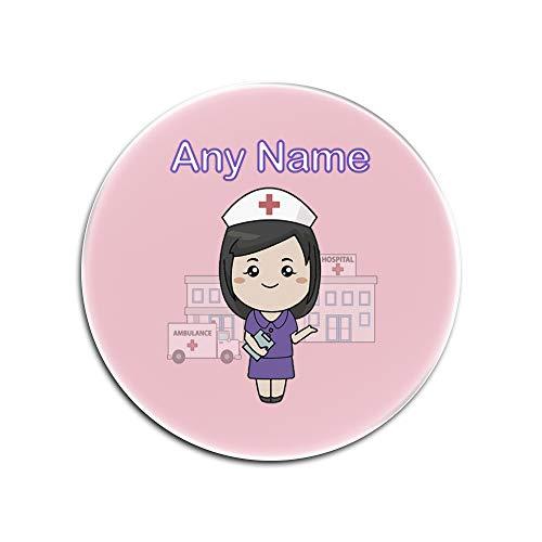 Sublimations-druck-kleid (Personalisiertes Geschenk-Set mit 4 x Untersetzer für Krankenschwestern, Violettes Kleid, Dunkles Glas (NHS-Design), Glas, Rose, Rund)