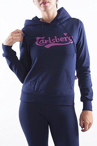 CARLSBERG - Felpa da donna con cappuccio m blu