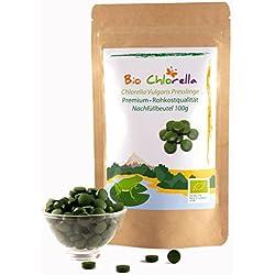Bio Chlorella-Tabletten 100g - Jetzt Laborgeprüft - Vulgaris Organic Natürliche Detox Chlorella-Presslinge - Premium Algen In Rohkost-Qualität (DE-ÖKO-070)