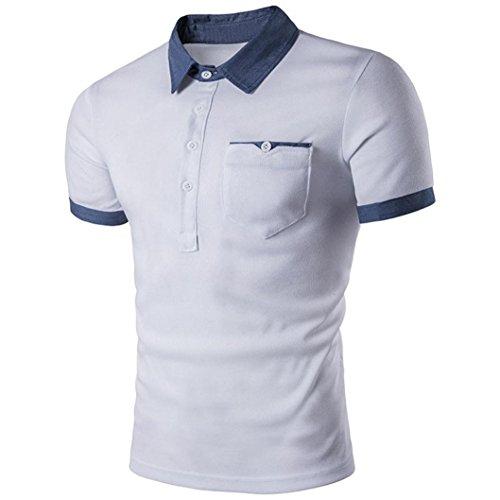 Paket Liebhaber Kostüme (Herren Drehender Kragen Stitching Amlaiworld Baumwolle Kurzarm Hemd T Shirt (Weiß,)
