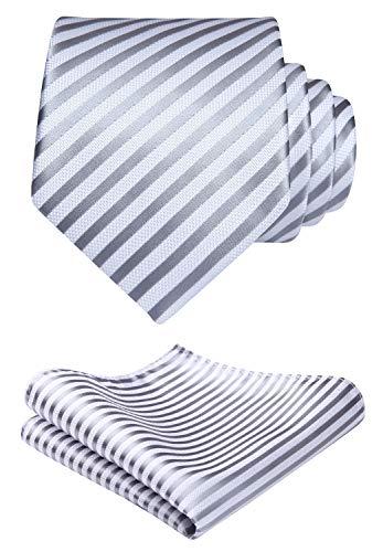 Hisdern Classic Krawatte Streifen Hochzeit Taschentuch Herren Krawatte & Einstecktuch Set - Krawatte Streifen