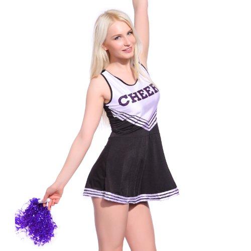 Imagen de anladia  disfraz de animadora cheerleader para adulta mujer mini vestido sin mangas con letras ¨cheers¨ color negro con blanco talla 36 38 40 42 44 xs 36  alternativa