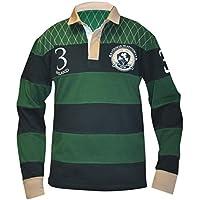 Croker tradicional de Rugby, color verde y azul marino - IR1008, Verde/Azul Marino (green and navy)